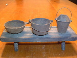 Antique-Miniature-Cast-Iron-Coal-Bucket-Pan-and-Pot-on-Wooden-Bench