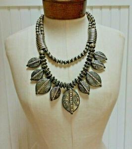 Vintage-Silver-Brutalist-Chunky-Ethnic-Necklace