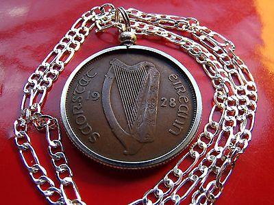 """1949  IRELAND Rare COIN Pendant on a 30/"""" .925 Silver Snake Chain."""