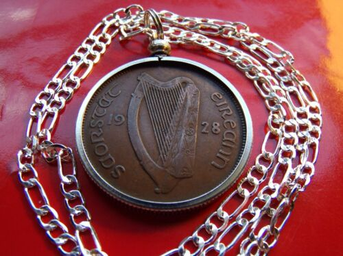 """2Rare 1928 Irish Antique Lucky Penny Pendant on a 20/"""" 925 Sterling Silver Chain"""