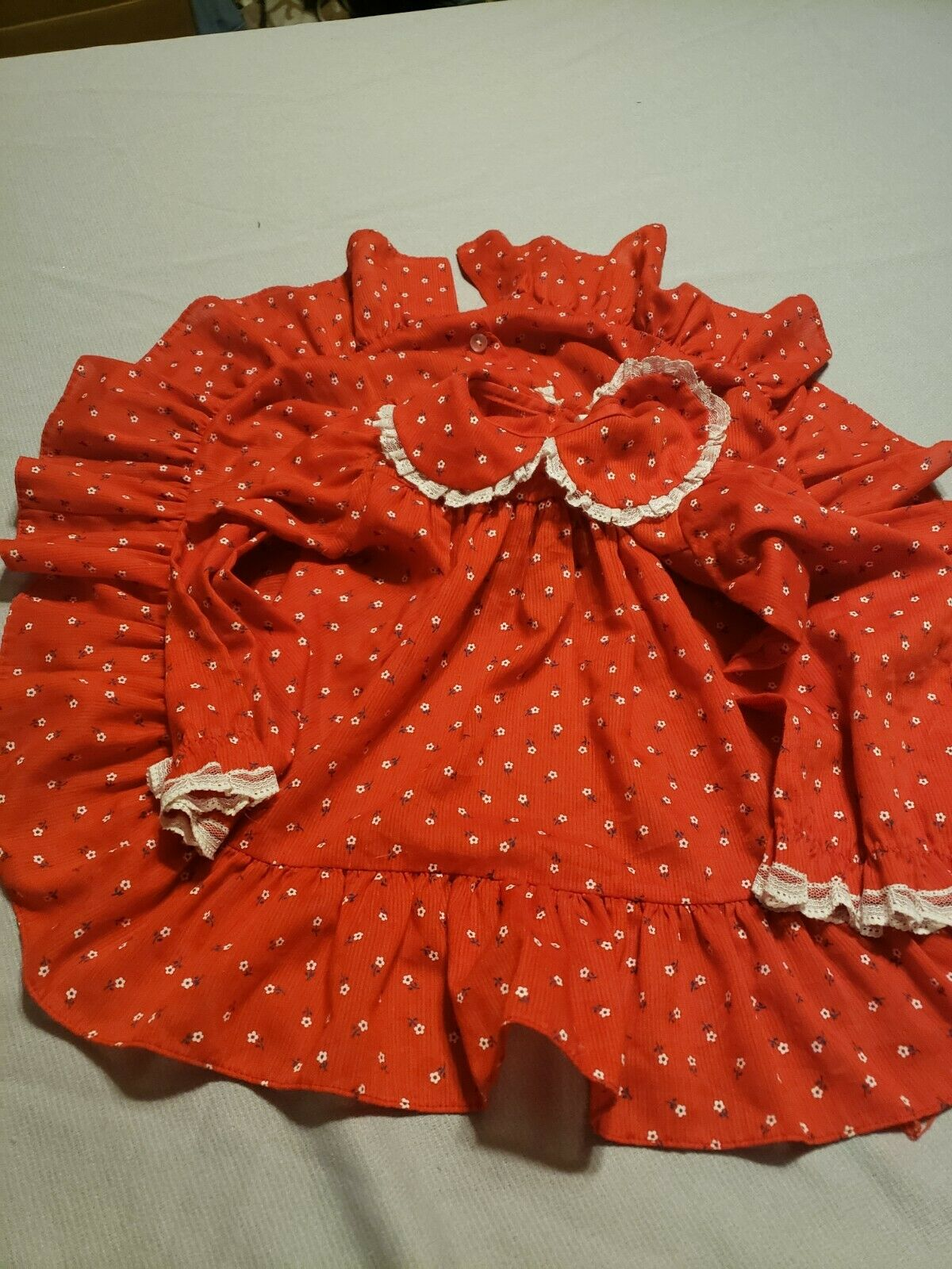 Vintage baby dress Red gingham with flower detailing Alexis sz 6 mo WITH bloomers