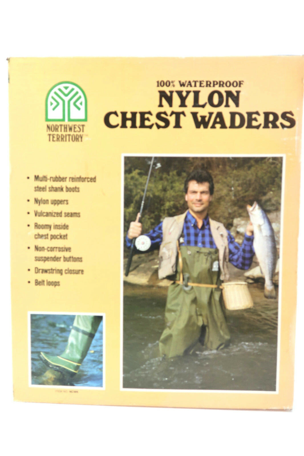Northwest Territory Men's Green Waterproof Nylon Hip Waders Boots Size 9 New