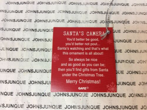 """SANTA'S CAMERA ORNAMENT New with Tag """"You better by good Santa's watching"""" Glass"""
