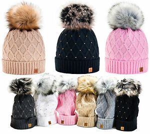 Women Winter Beanie Hat Knitted CRYSTAL Ladies Fashion Large Pom Pom ... a535d9417d9