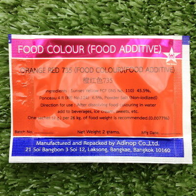 orange red colour food coloring powder safe additive bakery ...