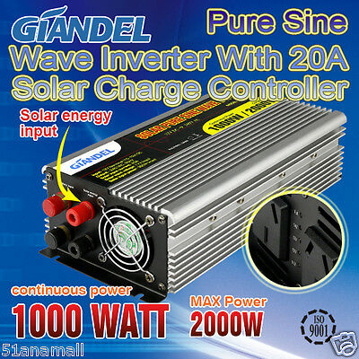 NEW Pure Sine Wave Inverter 1000W/2000W12V-240V With solar energy input control