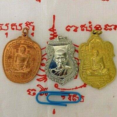 Ruay Monk Thai amulet Wat Tako Ayutthaya Buddha Talisman Yant Pendant Gold LP