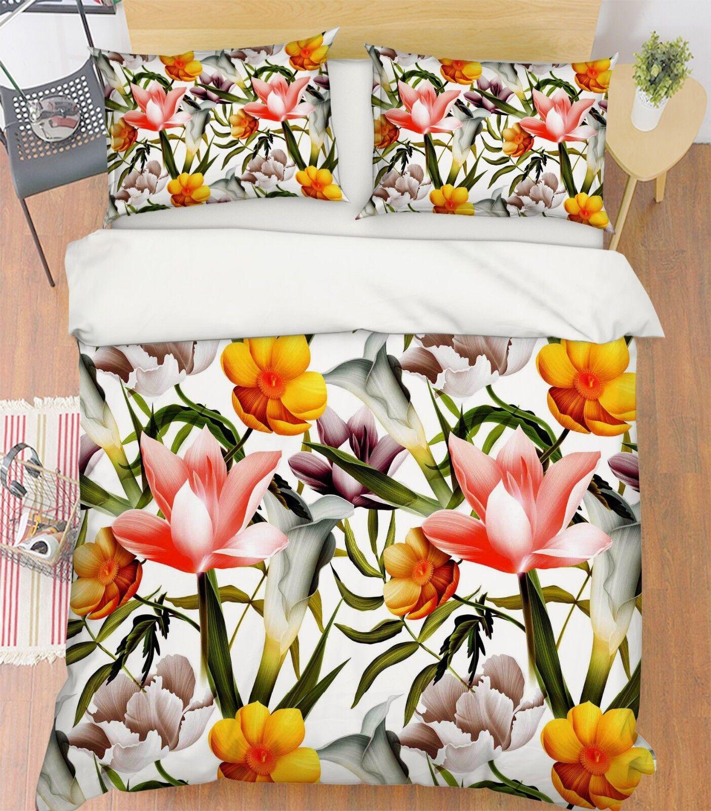 3D Flower Painting 98 Bed Pillowcases Quilt Duvet Cover Set Single Queen King CA