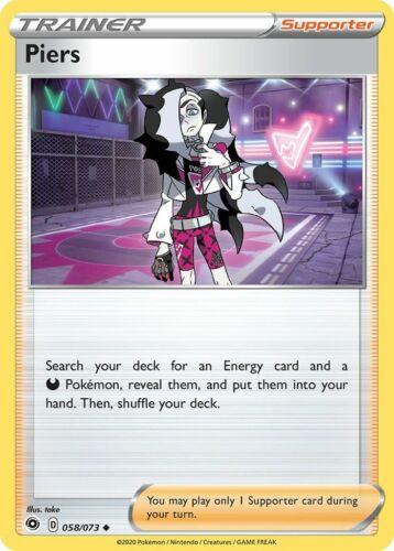 x4 Piers 058//073 Reverse Holo Pokemon Champion/'s Path M//NM Uncommon