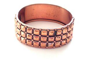 Vintage-RENOIR-Copper-Hinged-Bangle-Bracelet-Modernist-Geometric-Squares