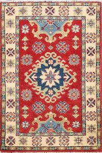 2x3 ft Hand-Made Super Kazak Geometric Oriental Area Rug Traditional Wool Carpet