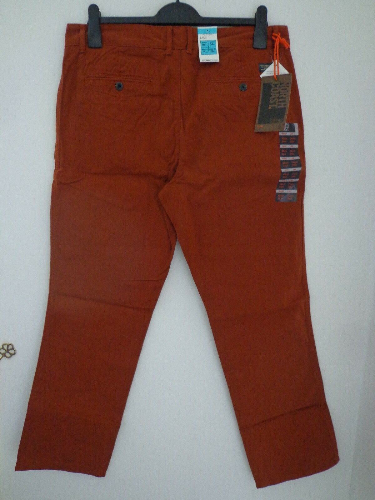 BNWT Homme m&s côte nord Slim gamme Coupe Slim nord Pantalon Chino Taille 34