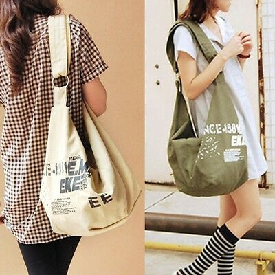 NEW Womens Shoulder Bag Satchel Irregular Canvas Cross Body School Bag Messenger