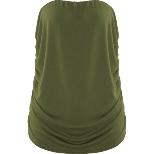 Womens Sleeveless Boob tube Bandeau Strapless Ruched Vest Top Plus Size t shirt