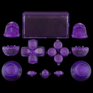 Sticks-Tasten-Button-Knoepfe-Set-Mod-Kit-fuer-PS4-Controller-transparent-lila