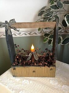 Country Wooden Box with Candle and Berries