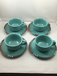 Dansk-MESA-TURQUOISE-4-Tea-Cups-amp-4-Saucers-Japan