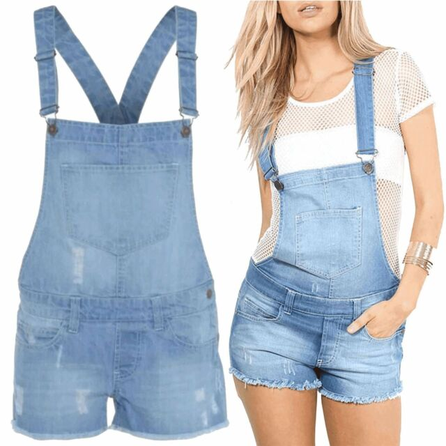 30a2e6924f6 Womens Ladies Denim Dungaree Shorts Dress Girls Jumpsuit Size 8 10 ...