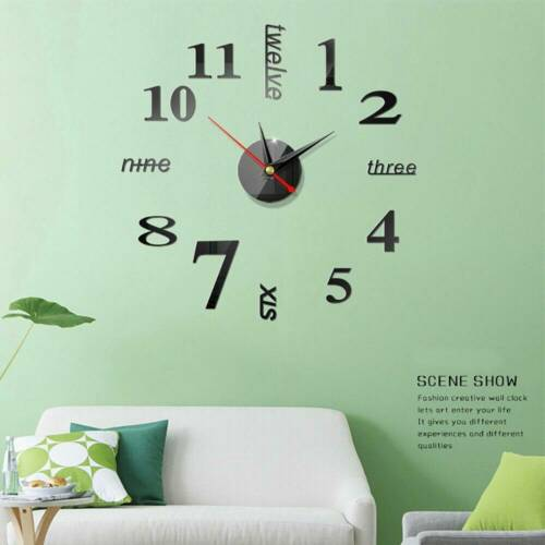 3D DIY Luxury Wall Clock Mirror Sticker Large Number Art Home Room Decoration UK