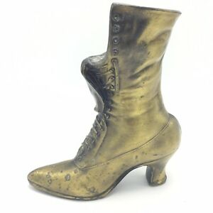 Vintage-Brass-Look-Victorian-Lace-Up-Shoe-Boot-Vase-Fireplace-Match-Holder-9-034-H
