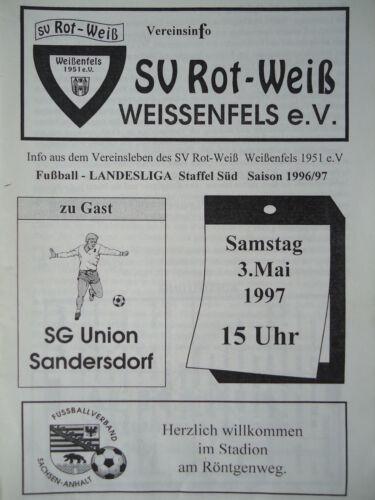 Union Sandersdorf Sport Memorabilia Programm 1996/97 SV Rot Weiß Weißenfels