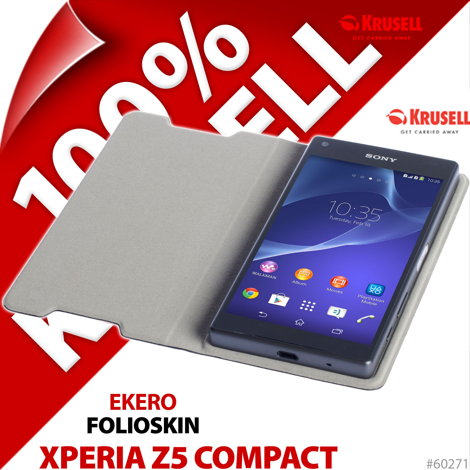 Krusell EKERO Folio Skin Cover Wallet Case Black for Sony Xperia Z5 pact