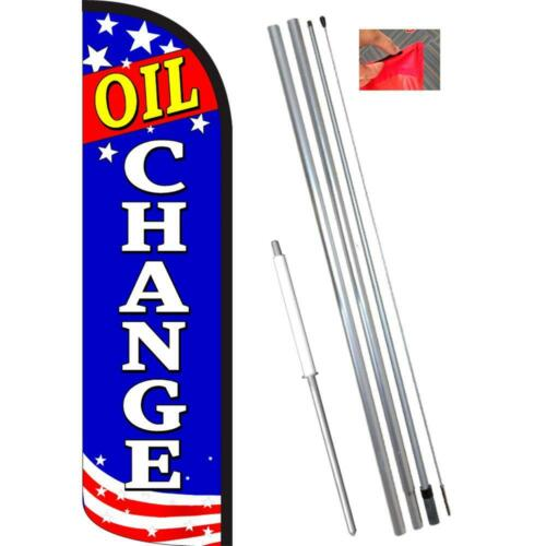 OIL CHANGE Patriotic Windless-Style Feather Flag Bundle 14/' OR Replacement Fla