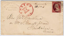 """#26 - 3 Cents 1857 red Boston CDS, embossed corner card """"Peirce & Bacon"""" - 1859"""