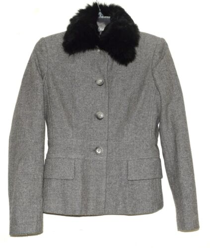 Republic Grey 4 Lamb Black Banan Jakke Collar Sz Uld Herringbone Aftagelig A6wwd4q