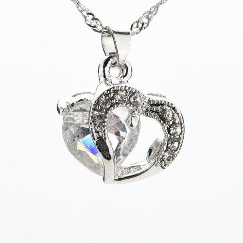 Women Heart Crystal Rhinestone Chain Silver Pendant Necklace Fashion.Jewel@F