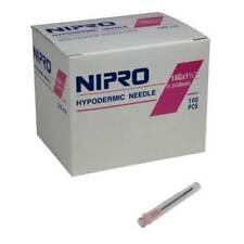 "Nipro Hypodermic Needle 18g X 1.5"" Sterile 100/box"