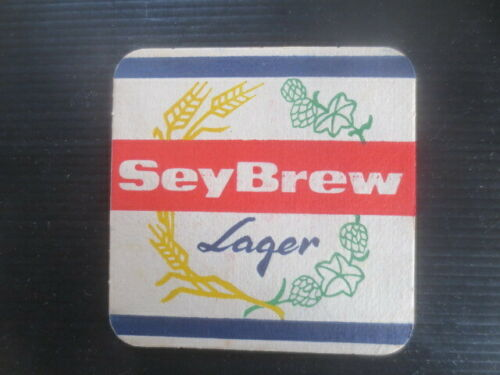"""BEER COASTER 1 only SEYSCHELLES /"""" SEY BREW LAGER /"""" Brewery"""