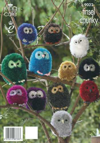 Tinsel Chunky Owl Family Knitting Pattern King Cole Easy Knit Animal Toy 9022