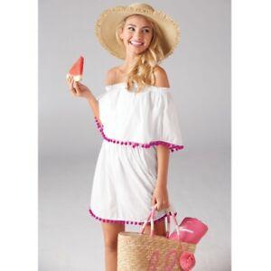 97e8d49758c75 POM POM Tunic Dress Cover-Up Navy Or White Presley - Off The ...