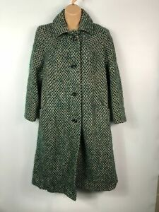 WOMENS-EASTEX-GREEN-MULTI-SINGLE-BREASTED-BUTTON-UP-OVERCOAT-JACKET-SIZE-UK-12