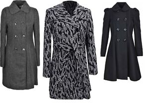 Womens-Double-Breasted-Long-Coat-Wool-Touch-Fit-And-Flare-Ladies-Winter-Coat-Wit