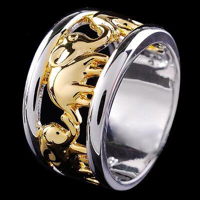 Sz 6-10 Gold Elephant Women/Men's Band Wedding Rings 10Kt White Gold Filled Gift