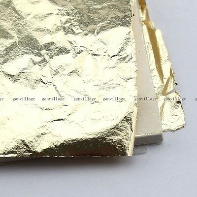Gold Leaf Sheets 100 Leaves For Gilding Decoration Art Work Craft 14X14cm Fake