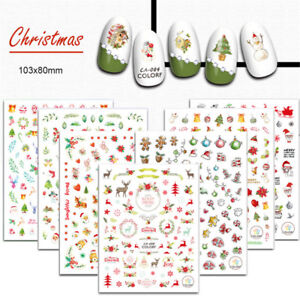 Christmas-Nail-Art-Stickers-Snowflakes-amp-Cute-Snowmen-Decal-Water-Transfer