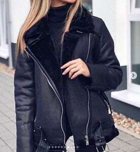 Faced Faux Shearling Double Zara Biker Aviator Fur Jacket New Black Zu Details Coat Leather fgb6I7vYy