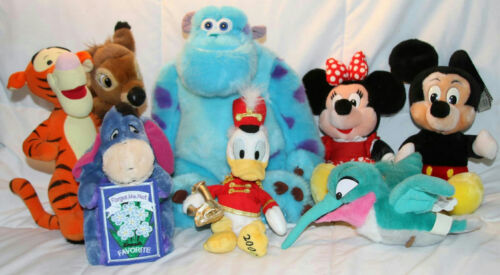 DISNEY LOT OF ASSORTED STUFFED ANIMALS SULLEY, EEYORE, TIGER, MICKEY PLUSH DOLLS