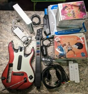 Wii Console Bundle Lot +9 Games +Peripherals DDR Exercise ...