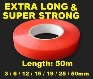 15mm Red Double Sided Adhesive Sticky Tape Easy Lift Super Strong Length 5M