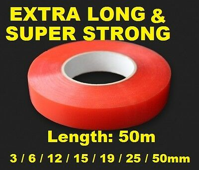 3mm Red Double Sided Adhesive Sticky Tape Easy Lift Super Strong Length 5M