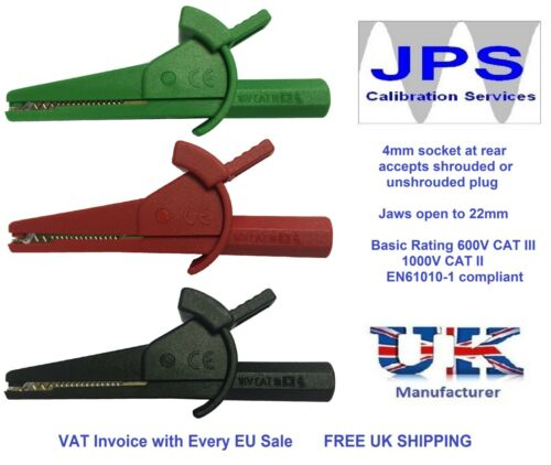 Red Black Green Crocodile Clips Set for Megger 1500 Series 4mm Test LeadsJPSS076