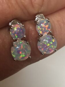 925-Sterling-Silver-Double-2-Tier-Cabochon-Fire-Opal-Stud-Earrings