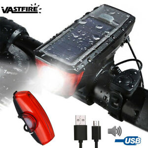 Solar Powered Bicycle Light USB Rechargeable Torch Bike w/Horn Rear Waterproof