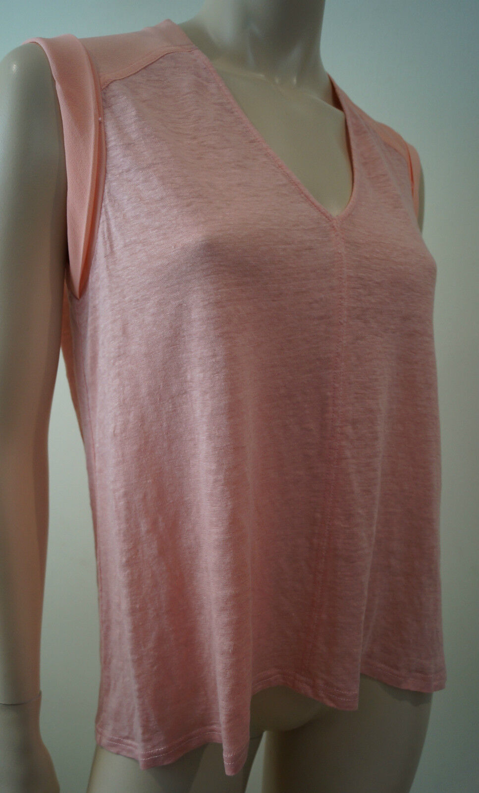 REBECCA TAYLOR Pale Rosa Silk & Linen Panelled V Neck Sleeveless Top Sz S