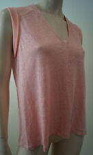 REBECCA TAYLOR Pale Pink Silk & Linen Panelled V Neck Sleeveless Top Sz:S
