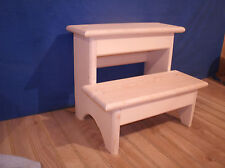 """Rustic wooden step stool, 2 step wooden step stool 12"""", unfinished bedroom stool"""